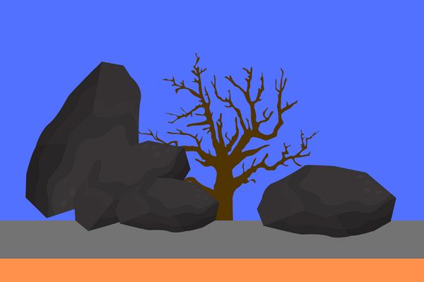 Representação do hardscape com rochas e tronco